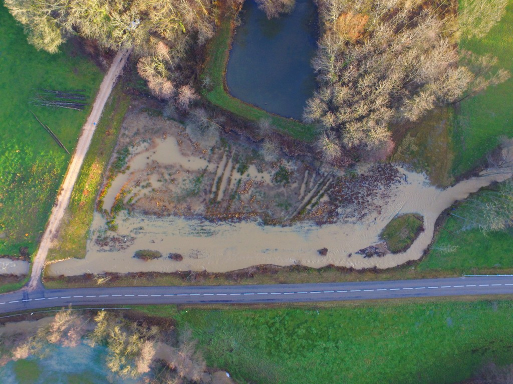 Le Grumbach et sa zone inondable, après les travaux d'effacement de l'étang communal à Seppois-le-Haut